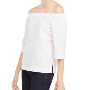 Ann Taylor Petite White Off The Shoulder Top